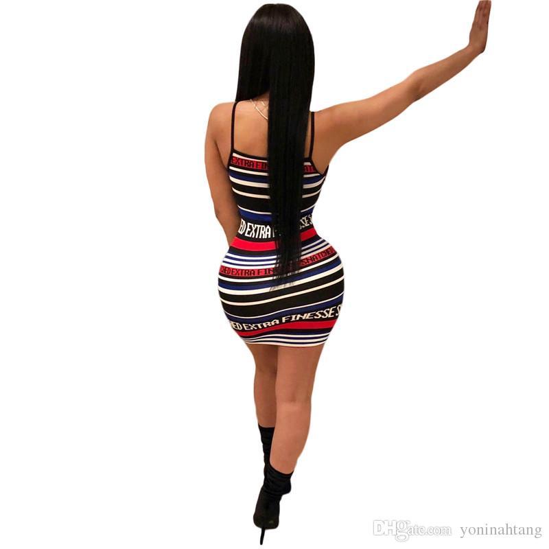 Оптовая Бесплатная Доставка Лето Полосатый Письмо Печати Женщины Оболочка Сексуальная Спагетти Ремень Спинки Короткие Мини-Платье