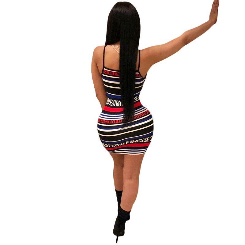 Wholesale Summer Striped Letter Print Women Sheath Sexy Spaghetti Strap Backless Short Mini Dress