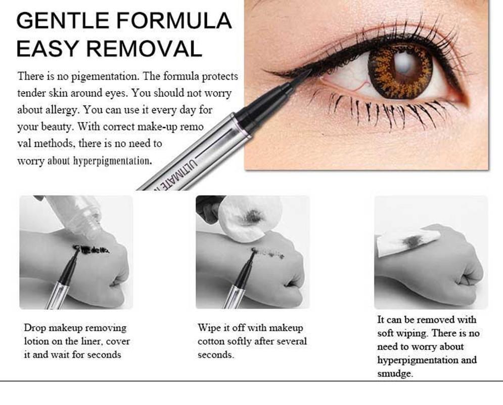 Mujeres Eyeliner Lápiz Impermeable Líquido Profesional de Larga Duración Cosméticos Delineador de ojos Pluma Negro Maquillaje Herramientas bea496