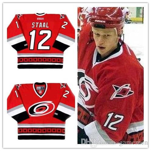 7208df33f 2019 Cheap Men S  12 ERIC STAAL Carolina Hurricanes 2002 CCM Away Vintage  Ice Hockey Stitched Red Jersey Size Xs 5xl From Gamemen