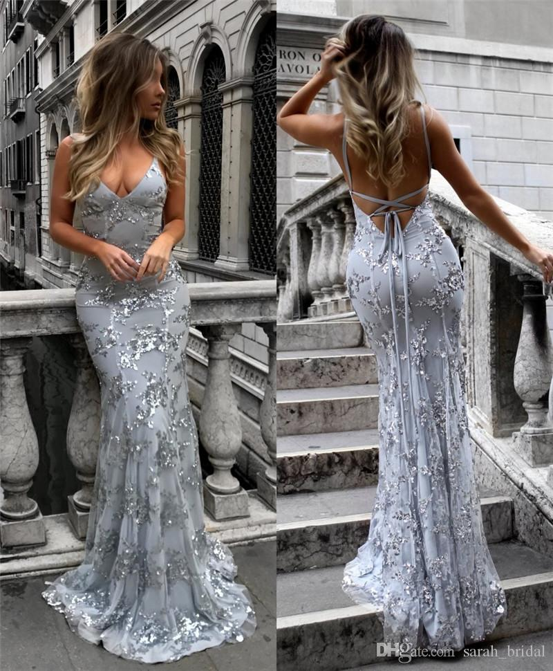 23d175b934c Sparkly Sequined Mermaid Backless Prom Dresses 2018 Cheap Plus Size Black  Girl African Arabic Pageant 2K18 Couple Fashion Evening Party Gown Prom  Dresses ...