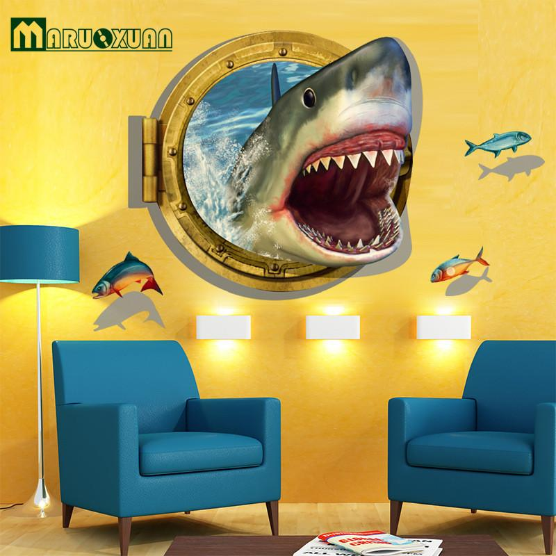 Latest Amazing 3D Shark Wall Stickers Home Decor For Guys Room ...
