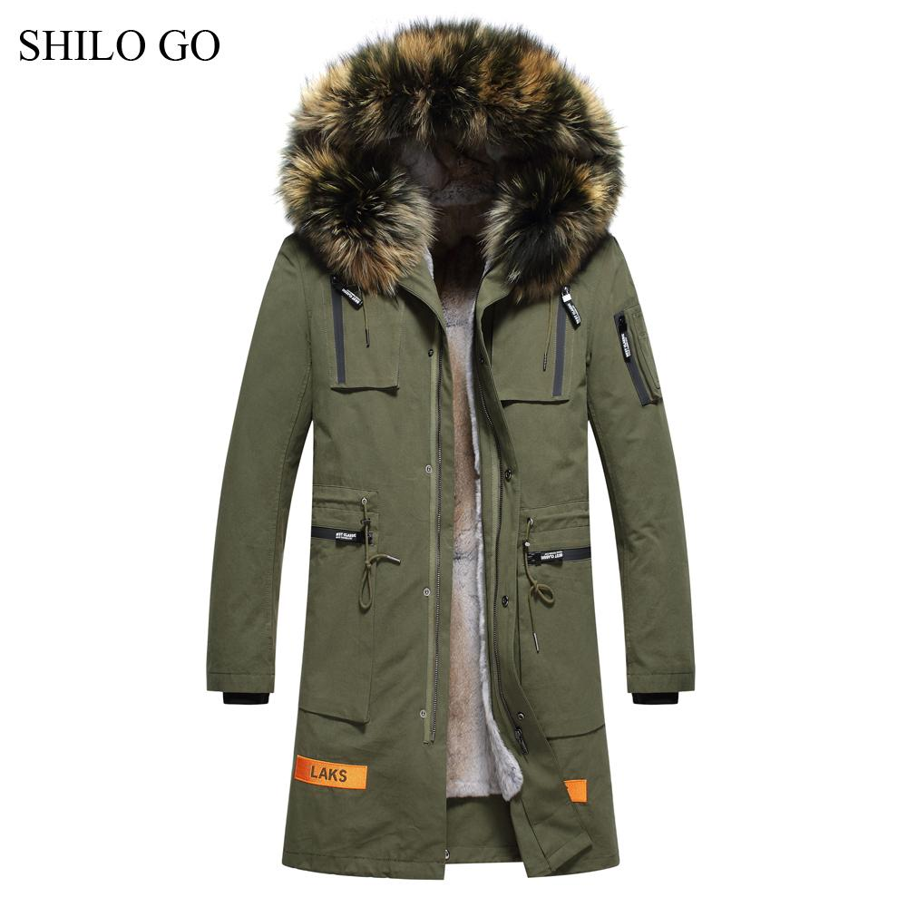 84049c99b6c94 2019 6XL Mens Winter Black Army Green Jacket Coats Thick Parkas Plus Size  Real Raccoon Collar Hooded Rabbit Long Outwear Fur Coat From Aprili
