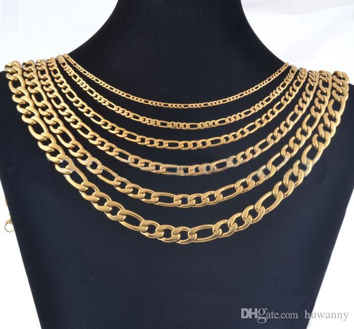 3 mm Oro quilla Cadenas collares para los hombres de acero de titanio collar de cadena de joyería 20 22 24inch al por mayor envío gratuito - 0712WH