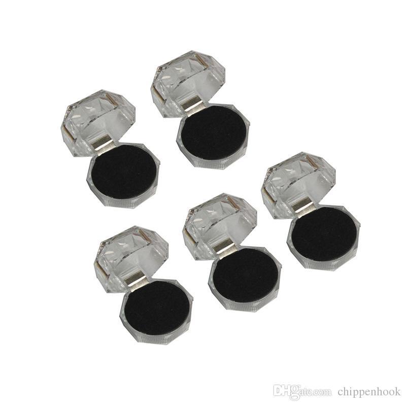 Acrylic Ring Box Clear Cheap Box Wedding Crystal Diamond Ring Stud Dust Plug Storage Package Gift Box 4*4*4 cm Choice