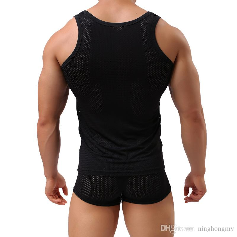 2018 Mens Mesh Tank Tops Fishnet Men 섹시 투명한 보디 빌딩 탱크 탑 패션 브랜드 T 셔츠 민소매 여름 언더 셔츠