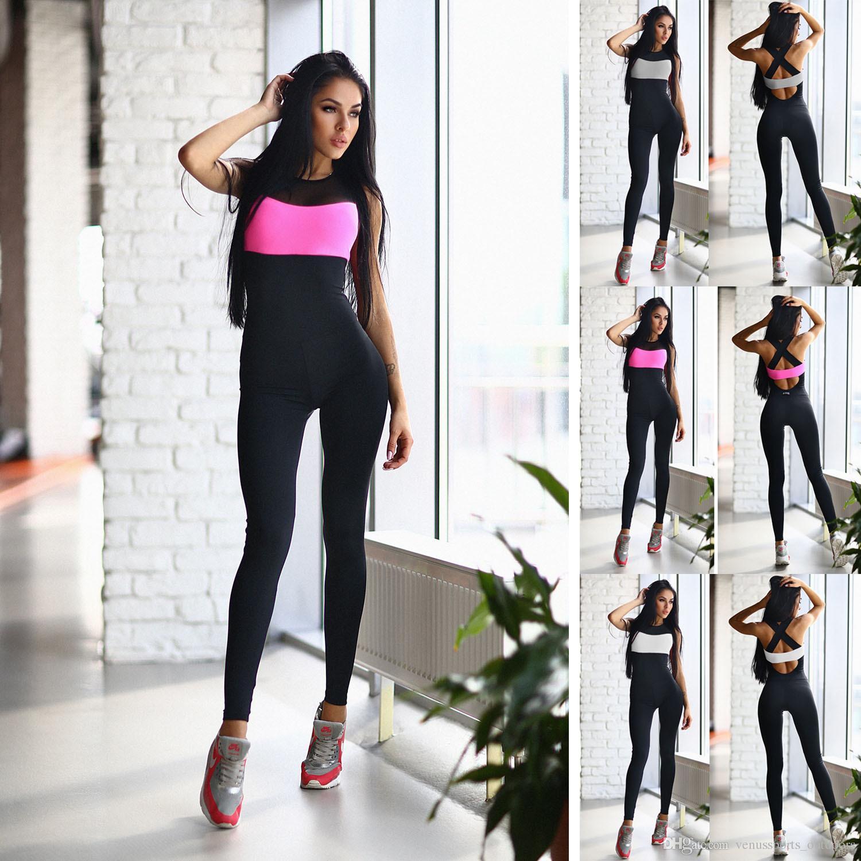 373e29fc7a586 Compre Conjuntos De Yoga Para Mujeres Deportes De Fitness Danza Pérdida De  Peso Trajes De Yoga Ropa De Entrenamiento Para Mujer Mono Largo Rosa Blanco  Gris ...
