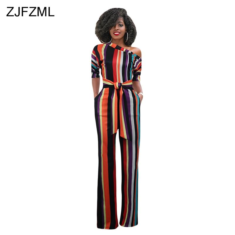 79fd803e82f 2019 ZJFZML Striped Sexy Plus Size Rompers Womens Jumpsuit Streetwear One  Shoulder Half Sleeve Wide Leg Bodysuit Elegant Long Overall From  Shuangyin002