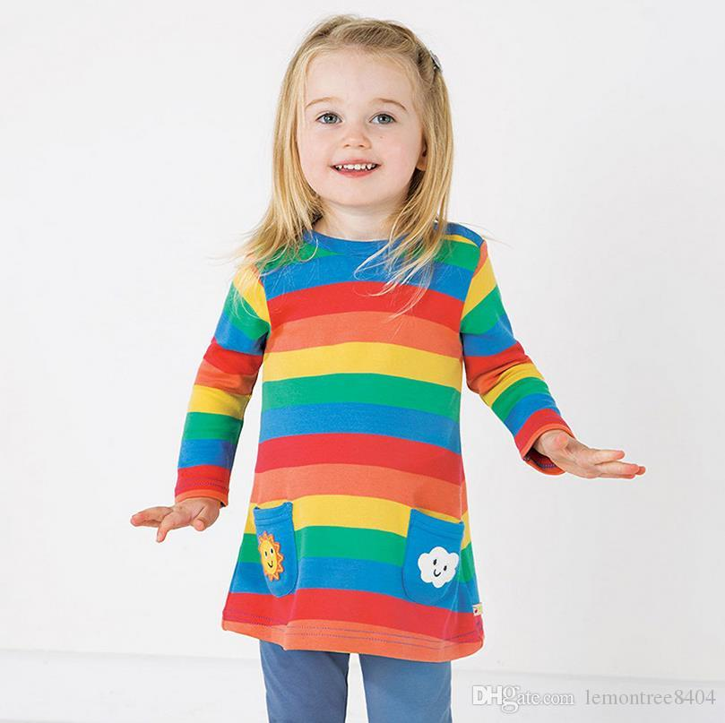 abbb1c753 Compre 2018 Otoño Invierno Ropa Para Niños Vestidos De Fiesta De Princesa  Para Niñas Rayas Impresas En 3D Para Niños Pequeños Vestidos Para Niños Al  Por ...