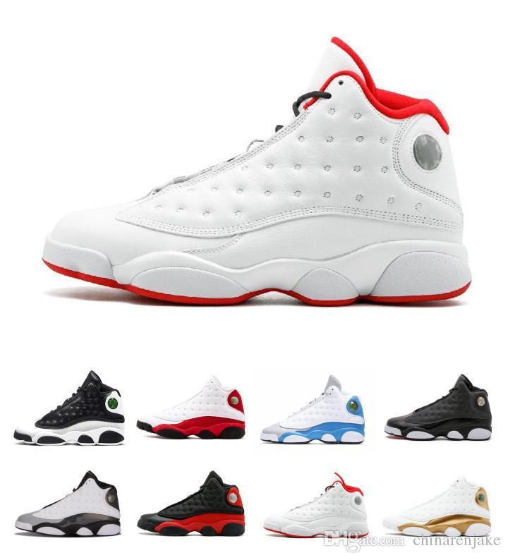 super popular 42de1 80db3 Acheter 2018 Pas Cher Vente Nike Air Jordan Retro 13 IV Basket Chaussures  Chaussures De Sport Sneakers Hommes 13 S BLACK MOTORSPORT JEU ROYAL BLEU ...
