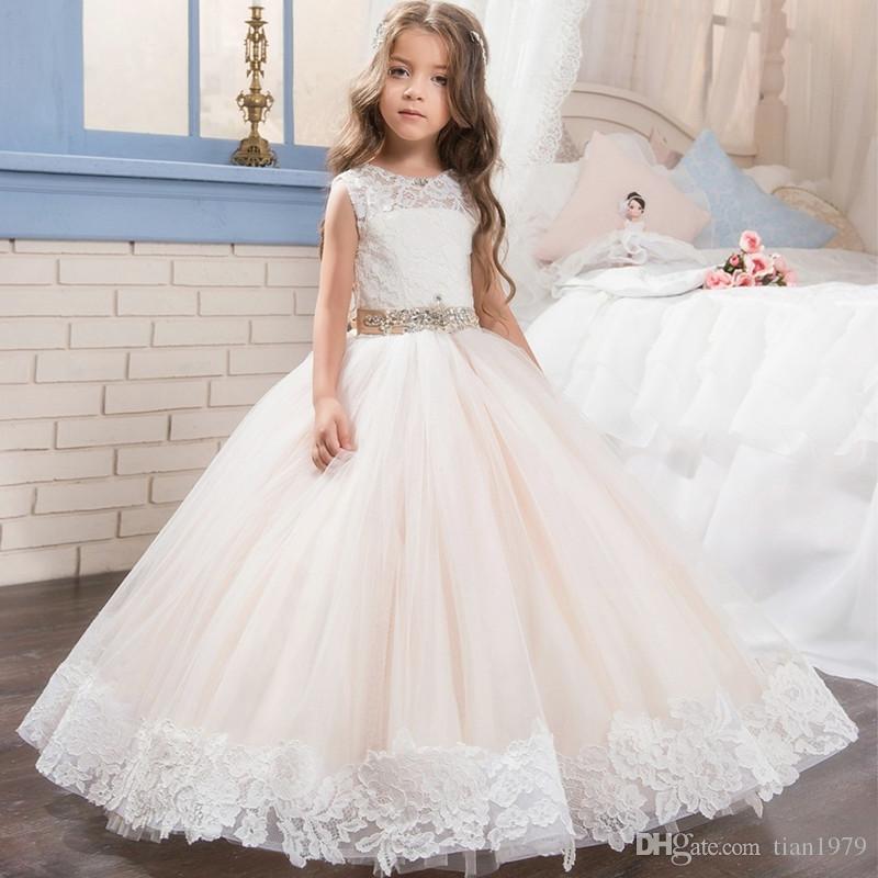 ... Flower Girls Dresses For Weddings V Neck Tulle Floor Length Backless Ball  Gown Junior Bridesmaid N 02e725fe9a74