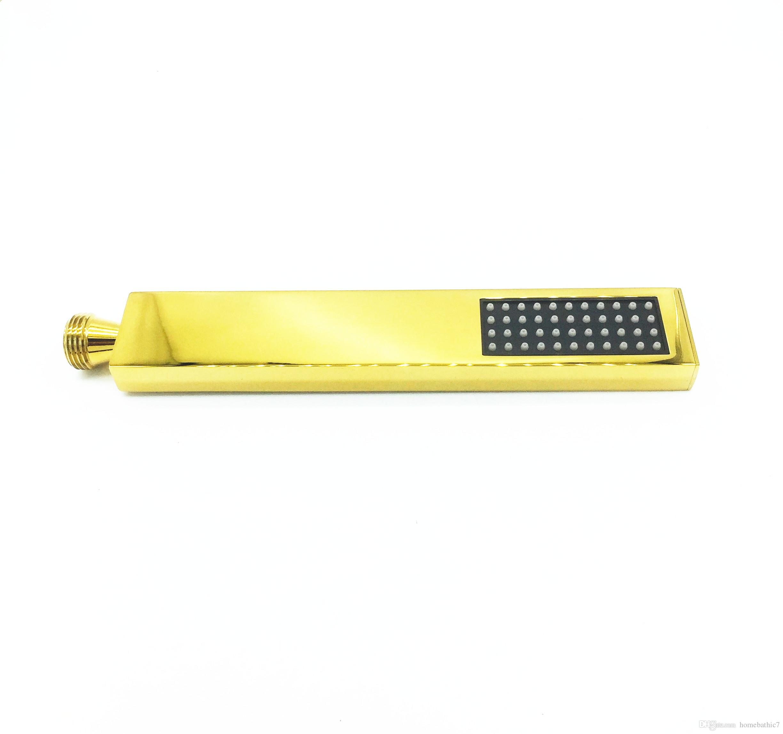 Luxury Soild brass square shower hand shower head sprinkler simple shower head with wall bracket stainless steel hose
