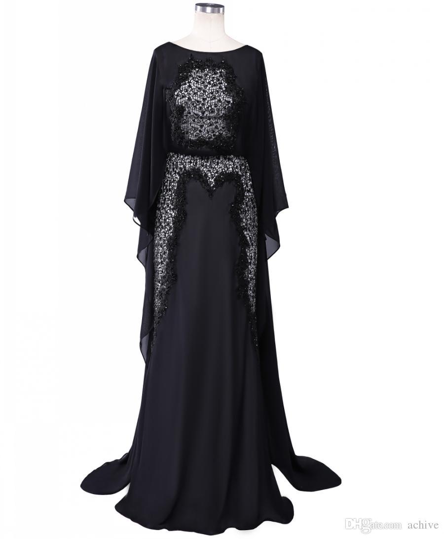 Gerçek Boncuklu Dantel Elie Saab Abiye Uzun Siyah Örgün Parti Elbiseler Dubai Arapça Şifon Anne Gelin Önlükler