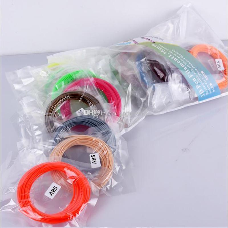5M / اللون 20 الألوان 3D طابعة القلم الشعيرة ABS / PLA 1.75mm البلاستيك المطاط المواد الاستهلاكية المواد 5 أمتار القلم 3D خيوط سعر الجملة