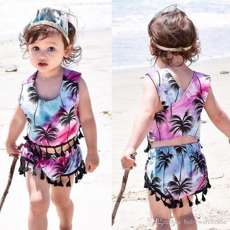 Çocuklar Giyim Yaz Bebek Kız Giyim Püskül Hindistan cevizi ağacı Yelek Crop Şort Seti Bebek Kız Giyim Kıyafetler Beachwear 1-5T Tops
