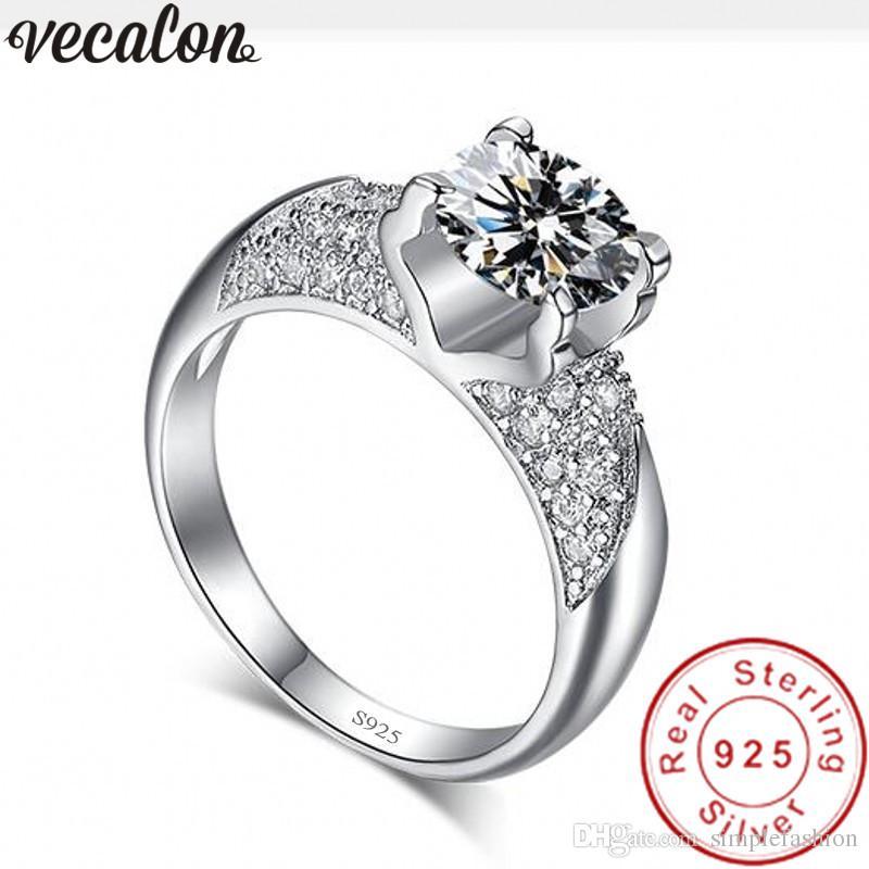 Vecalon hecho a mano Nueva plata de ley 925 anillo de ajuste de los anillos de boda banda 5A Zircon CZ de compromiso para las mujeres joyería de moda pavimentan