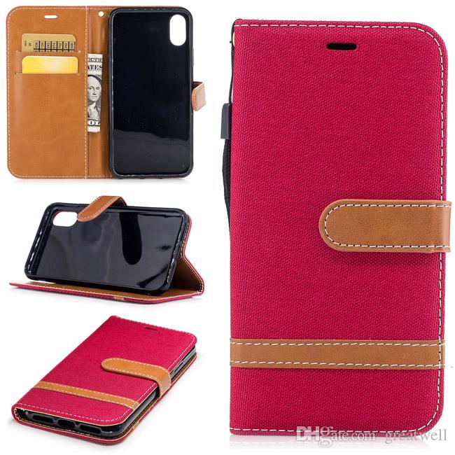 Denim Jeans Canvas Card Wallet Flip Leather Cover Case For iphone 11 Pro Max XS XR 8 7 6S Plus iphone SE