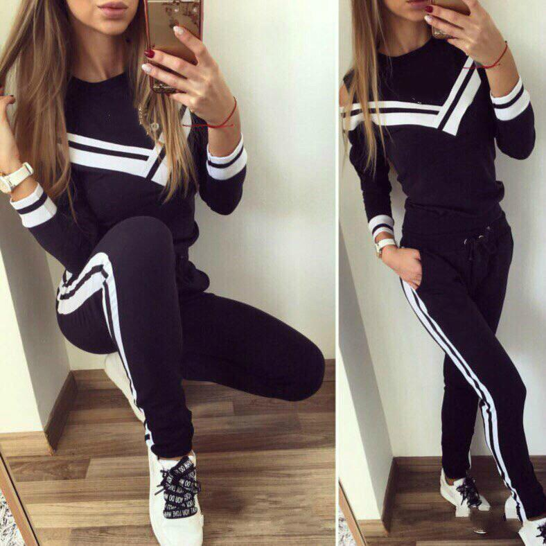 f43cc6a35ffdb 2019 Women Casual Sports Suit Long Sleeve Tops + Pants Stripped Tracksuits  Autumn Winter Sport Lounge Wear Ladies Suit Clothing From Hengda999