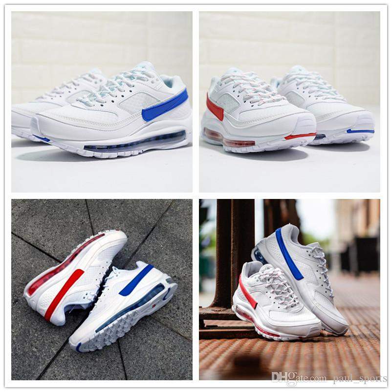 8ba65d7390 2018 New Skepta X 97 BW Casual Shoes For Good Quality 97s White Red Blue Men  Women Outdoors Designer Sneakers Size 36 45 Cute Shoes Mens Shoes Online  From ...