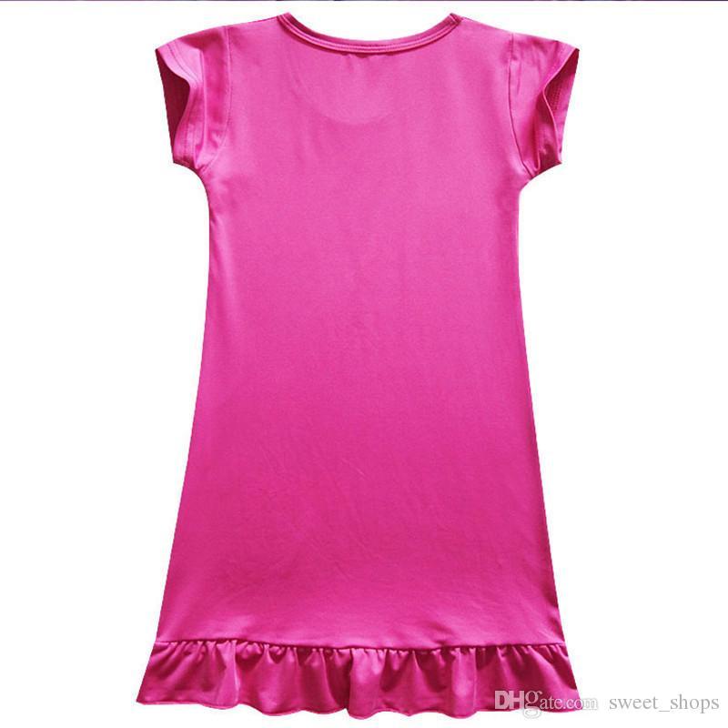 Children Girls Unicorn Princess Pajamas Dresses Kids Baby Printing Short Sleeves Dress Summer Cartoon Night Skirts 110-140cm