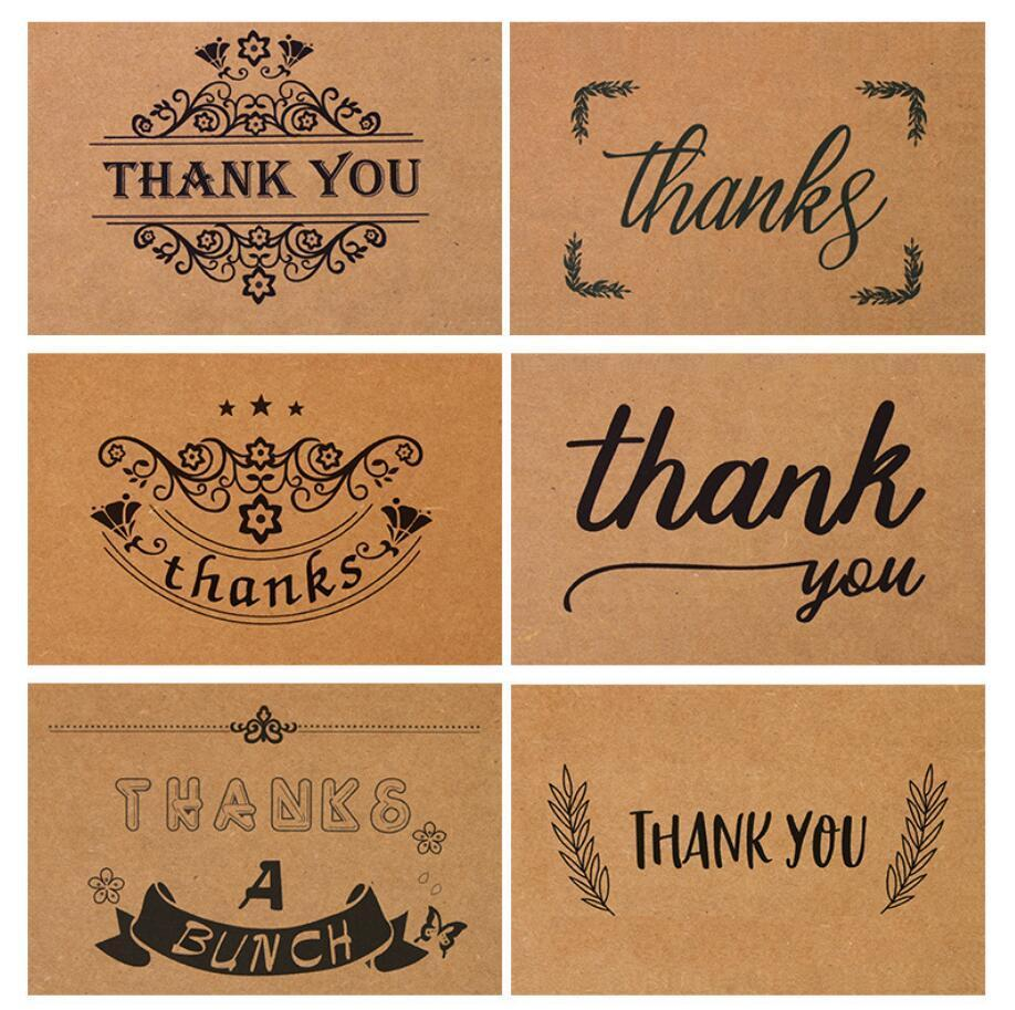 6 Patterns Thank You Cards Kraft Paper With Envelope15x10cm For