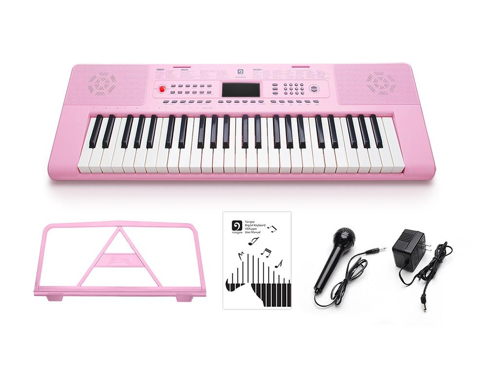 Vangoa 49 Keys Digital Electronic Keyboard Piano Music with LCD Display  Screen, Mic and Power Adapter