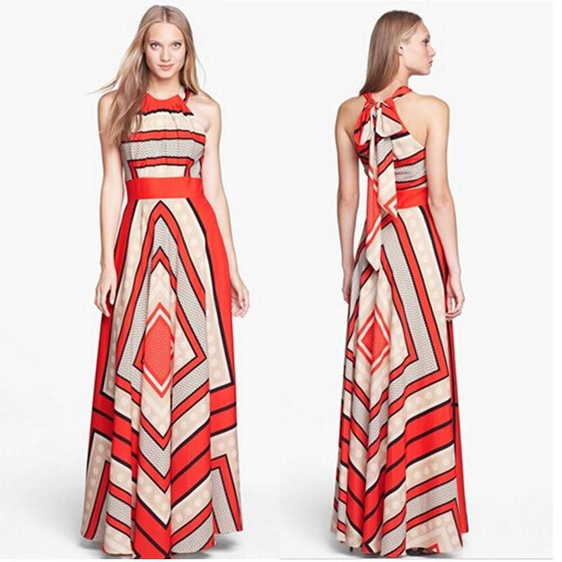 5629f346c87 Summer Dresses Red Stripes Halter Chiffon Long Dresses Women Maxi Dress  Sexy Casual Sleeveless Split Beach Women S XL Casual Cocktail Dresses  Womens Sun ...