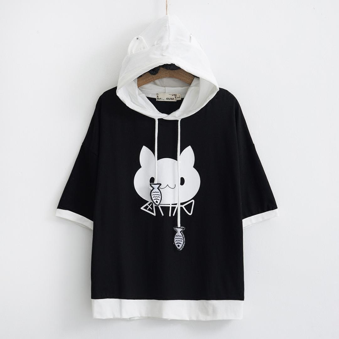 2018 Summer Japanese Style Cute Ear Girls Hoodies Women Casual Short Sleeve  Cat And Fish Printed Hooded Pullovers Sweatshirts UK 2019 From Worsted b5df85a19b