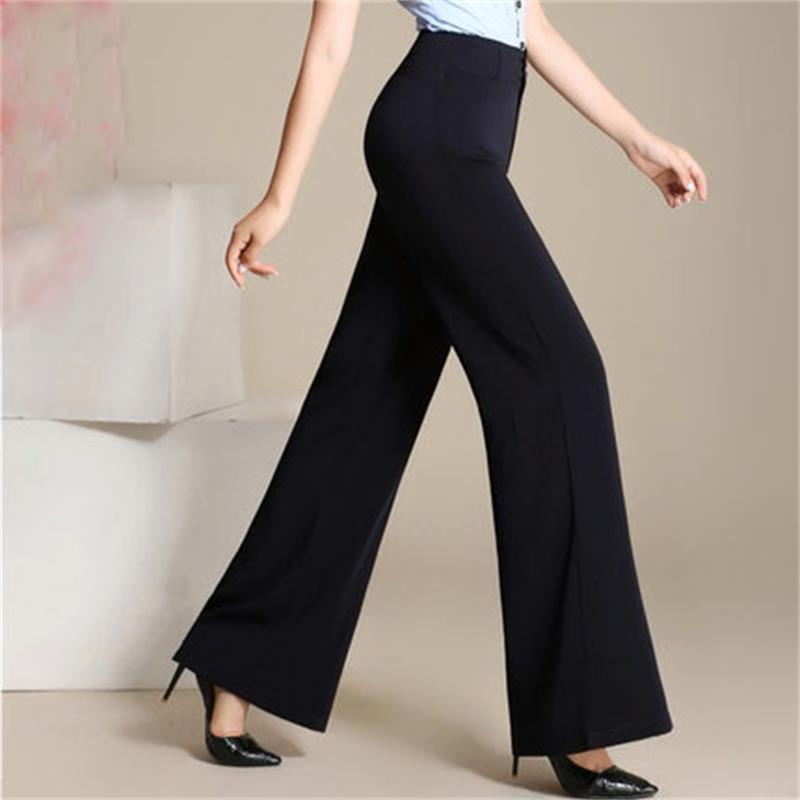 Compre Las Mujeres De La Cintura Alta 2018 Pantalones De Trabajo De Oficina  De La Manera Más Tamaño De Pierna Ancha Señoras Pantalones Formales  Pantalones ... ed83697e73c7