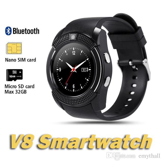 V8 Smart Watch Bluetooth SmartWatch With 0.3M Camera SIM IPS HD Full Circle Display Smart Watch For Android System With Box