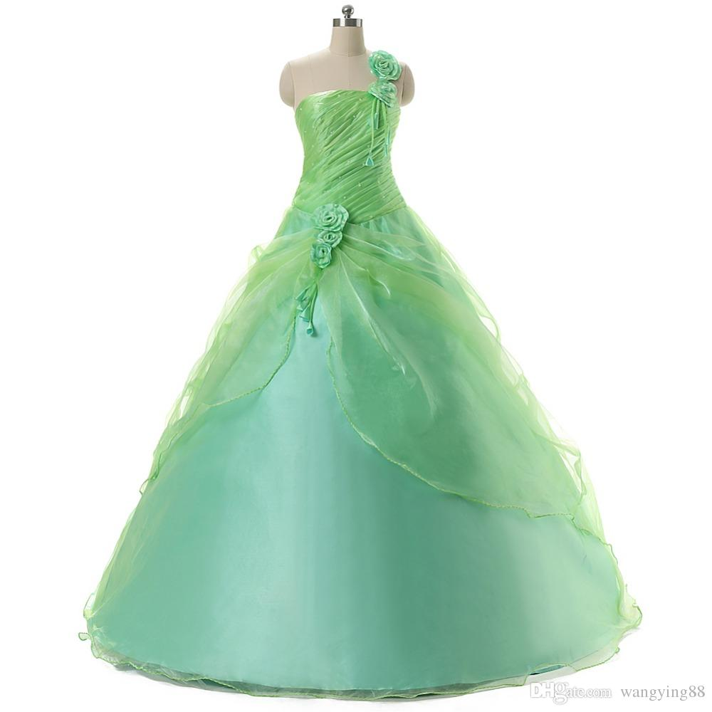 Debutante Sweet 16 Girls Masquerade Ball Gowns 2017 One Shoulder Organza Mint Green Cheap Quinceanera Dresses
