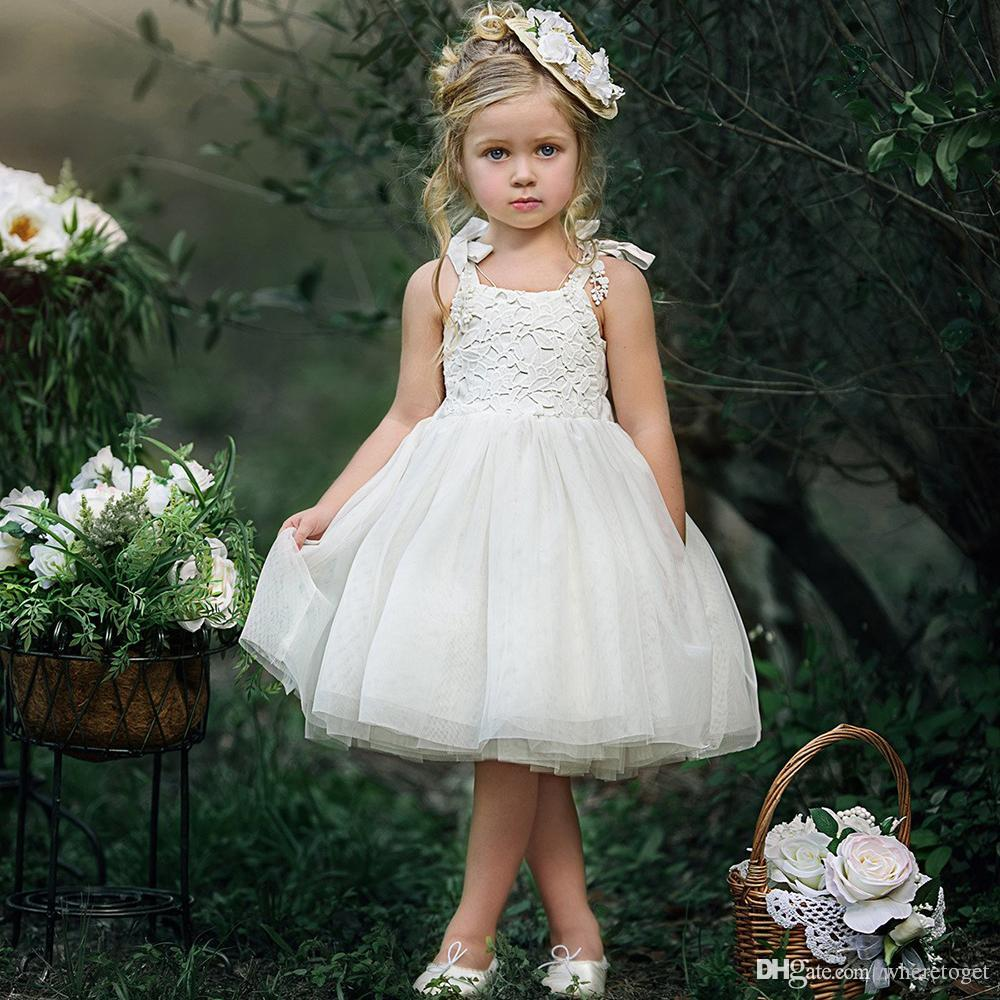 Princess White Lace Flower Girl Dresses 2018 knee length tutu skirt First Communion Birthday Party Dresses Girls Pageant Dress For Weddings