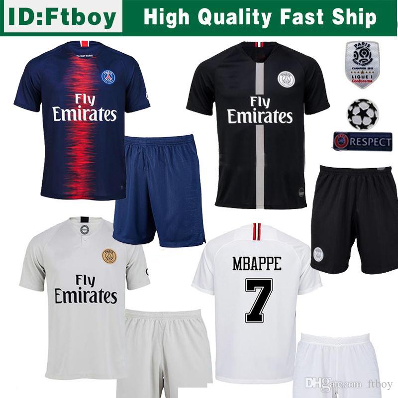 0be741eade2 2018 Paris Soccer Jersey AJ Ligue 1 Patch 18 19 CAVANI Psg Jordams ...