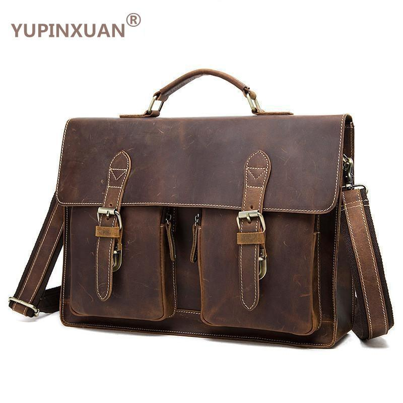 fae8f436ae2 YUPINXUAN Vintage Crazy Horse Briefcases Men Genuine Leather Messenger Bags  14 Laptop Handbags Cow Leather Business Bag Russian Camo Purses Cross Body  Purse ...