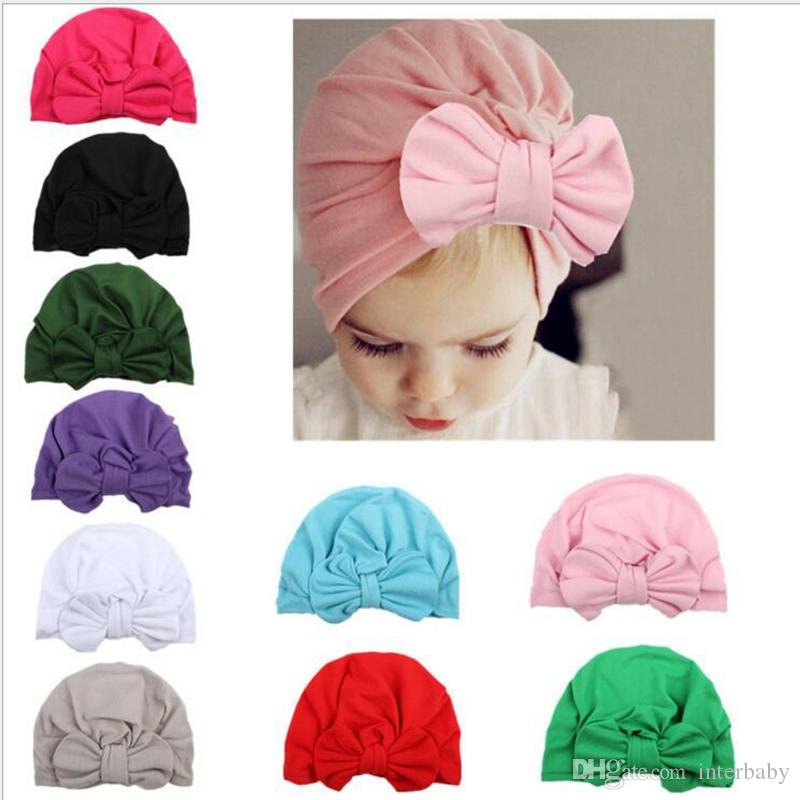 Four Seasons Baby Girl Sequins Design Bowknot Elastic Hats Turban Cap Cute Soft Infant Hair Accessories Indian Style Accessories Mother & Kids