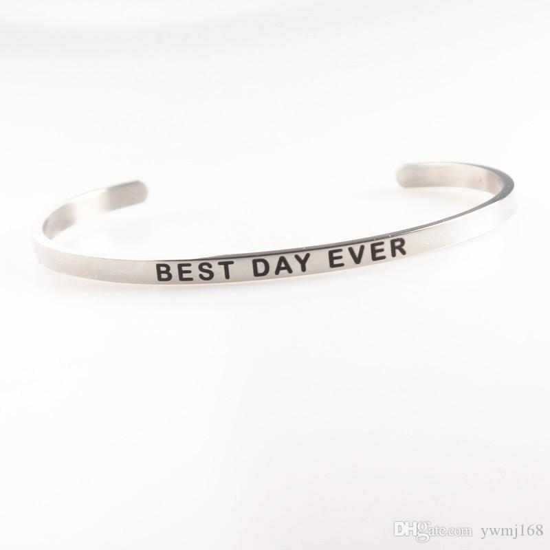 2018 New Stainless Steel Engraved ONE DAY AT A TIME Positive Inspirational Quote Hand Stamped Cuff Mantra Bracelet Bangle For Women Gifts