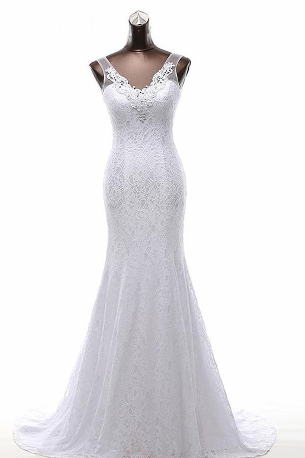 Nova Imagem Real Marfim V Pescoço Aberto de Volta Sheer Lace Sereia Vestidos De Casamento Princesa Longos Vestidos De Noiva Apliques Custom Made Romântico branco