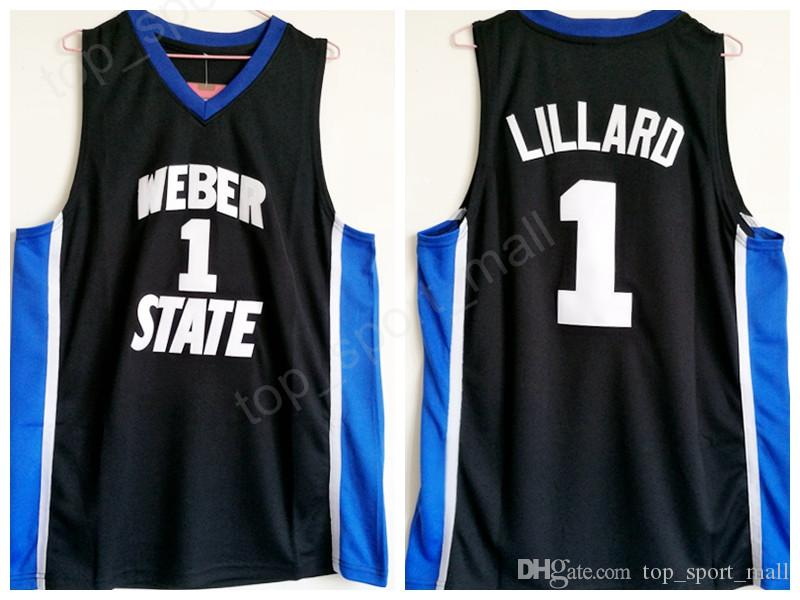 new style 1cbe0 25687 Weber State Damian Lillard Jersey 1 University Black Color Men Basketball  Lillard College Jerseys Breathable For Sport Fans High Qualit