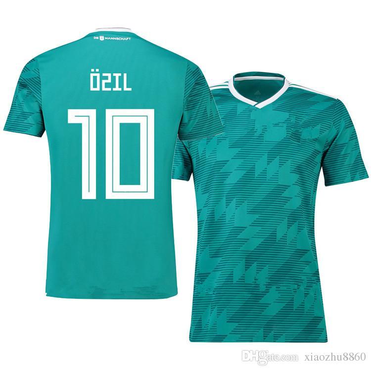 258646eeb98 Acheter Maillot De Football Allemagne GREEN DRAXLE 2018 WORLD CUP Équipe  Nationale KROOS HUMMELS WERNER REUS Maillot De Football Maillot Camisetas  De Futbol ...