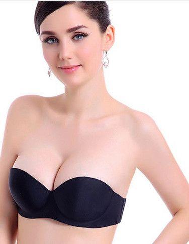 890cd930772666 2019 Fashion Women Seamless Strapless Bra Push Up Padded Soutien Gorge Underwire  1 2 Cup Underwire Bra Underwear Sutian Bralette From Meinuo003