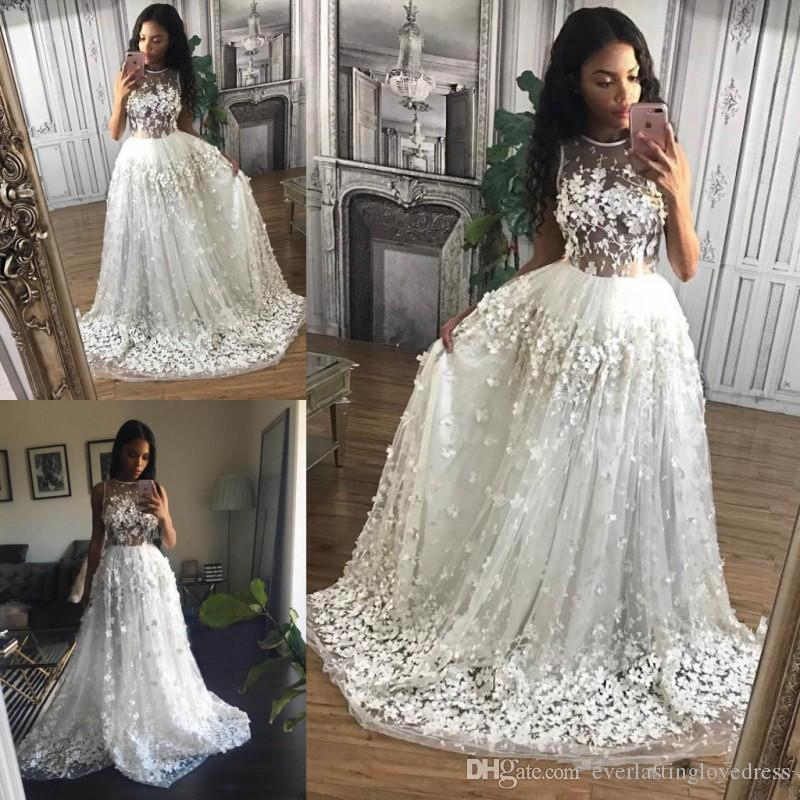 Floor Length 3D Floral Appliques Prom Dresses Sheer Tulle Illusion High Neck Gorgeous Floral Formal Evening Gowns