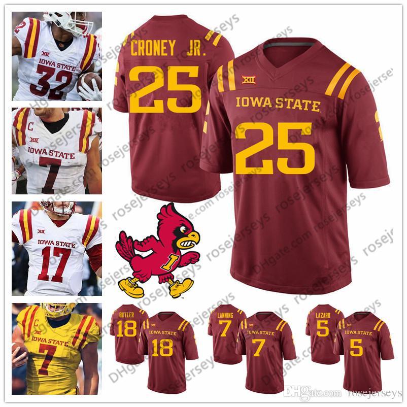 3aaa11764 Compre Isu Iowa State Cyclones   5 Allen Lazard 7 Joel Lanning 18 Hakeem  Butler 25 Sheldon Croney Jr. Red Amarillo White College Fútbol Jersey A   23.0 Del ...