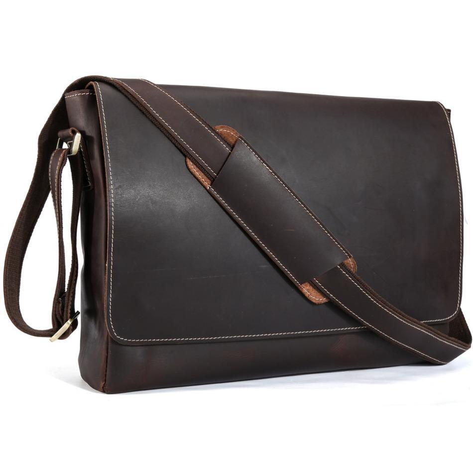 Tiding Luxury Genuine Crazy Horse Leather Men Messenger Bag Retro Shoulder  Bag Cowhide Leather 15laptop Briefcase Crossbody Shoulder Bags Leather Bags  From ... 41c6a7172c