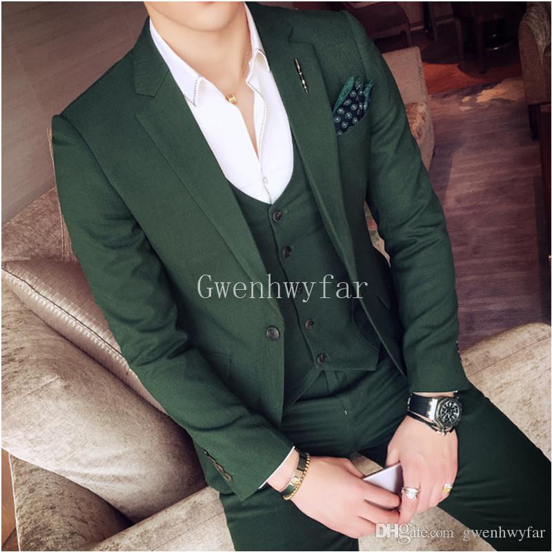 Compre Diseño De Moda 2018 Trajes Para Hombre De Color Verde Oscuro Slim Fit  Sets Chaqueta + Pantalón + Chaleco 3 Piezas Elegantes Trajes De Fiesta De  ... b4203cf0815