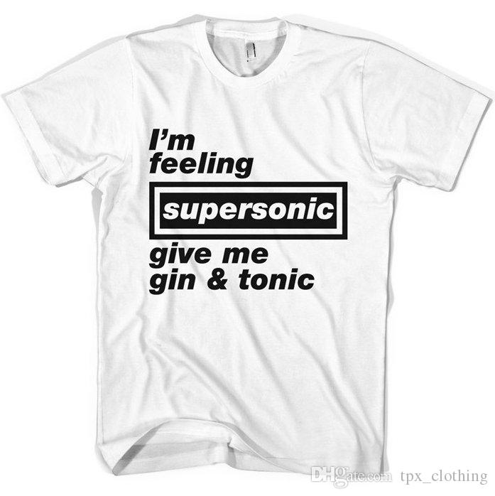 Supersonic t shirt Give me gin tonic cool words short sleeve gown Street  leisure tees Unisex clothing Pure color cotton Tshirt