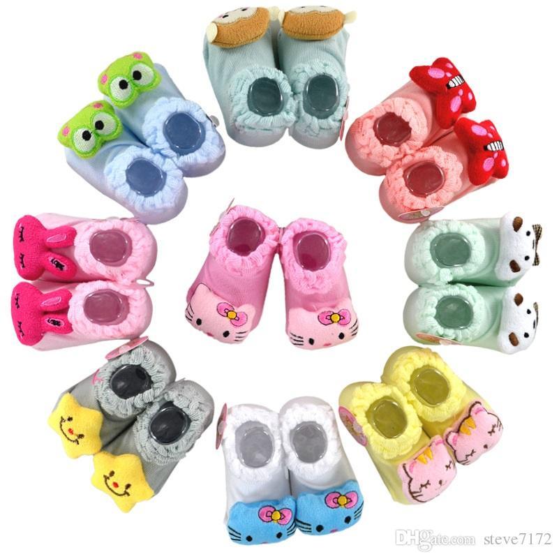 Antideslizante Calcetín recién nacido Nudo de goma Algodón Bebé Niño Calcetines Muñeca de dibujos animados de animales Primeros andadores Paquete de la caja Zapato de niña 0-12Mes
