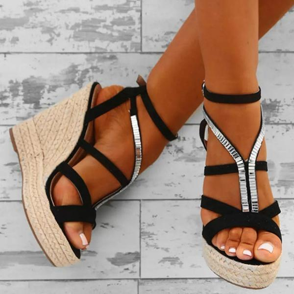 0271c0199df1 High Quality Women Summer Black Faux Suede Embellished Wedges Fashion  Casual Vintage Heel Platform Pumps Shoes Dansko Sandals Tall Gladiator  Sandals From ...