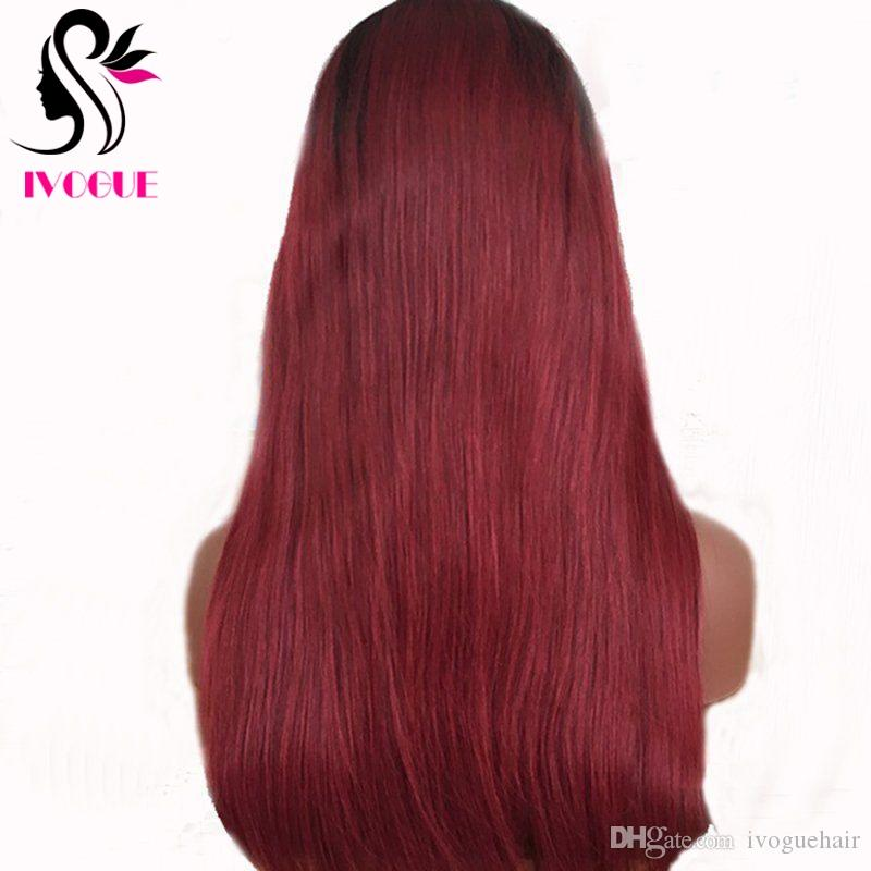 Long Virgin Peruvian Gluless Ombre Human Hair Full Lace Wigs Ombre Burgundy / 99j Root Black Silky Straight Ombre Lace Front Wig