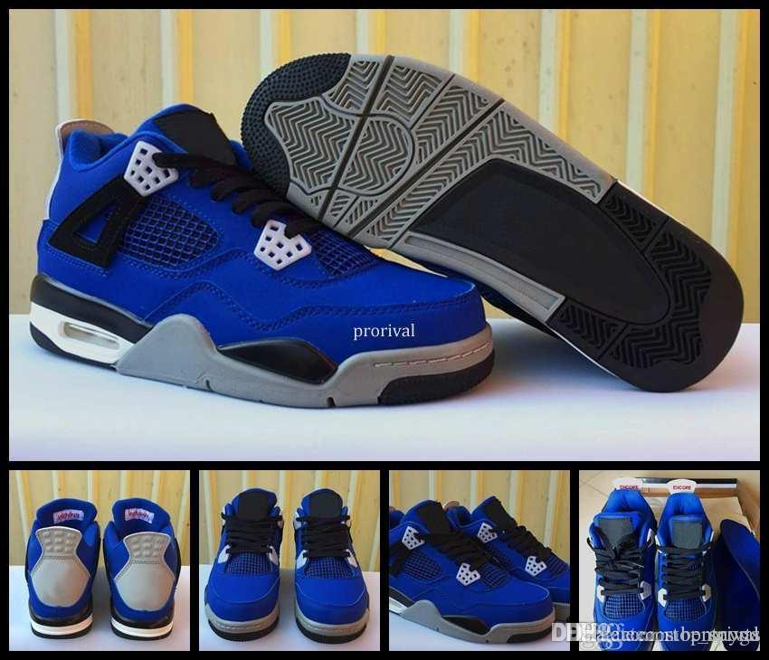 2018 High Quality 4 Eminem Encore Blue Suede Mens basketball Shoes Men 4s  Basket Ball Sports Outdoor Trainers Sneakers Size US 8-13