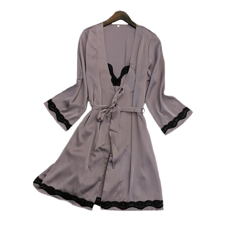 75fd7ba9f 2019 2018 New Sexy Nighty Robe Set Lace Trim Kimono Bathrobe Gown Satin Sleepwear  Women Intimate Lingerie Casual Nightgown Negligee From Sweatcloth